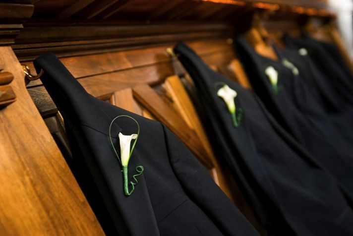 Wedding attendants' tuxedoes