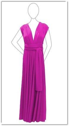 Dessy's Twist Wrap Dress in Fuscia (American Beauty)- Full-Length Front