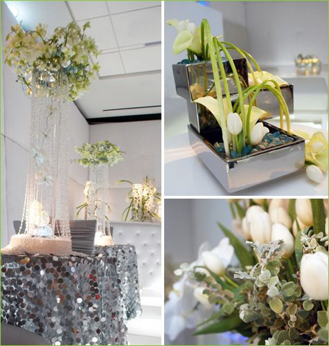 Contemporary Silver and White Decor- Flowers & Tablescapes