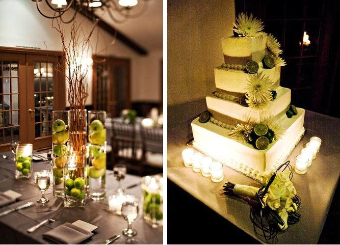 Hurricane vase centerpieces filled with water and fruit; Cake with green accents