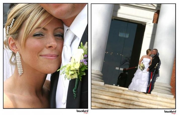 Beautiful bride and groom smile, and kiss on the steps