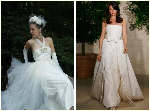 White wedding dress with tulle skirt and flower detail; Ivory strapless wedding dress with bow detai