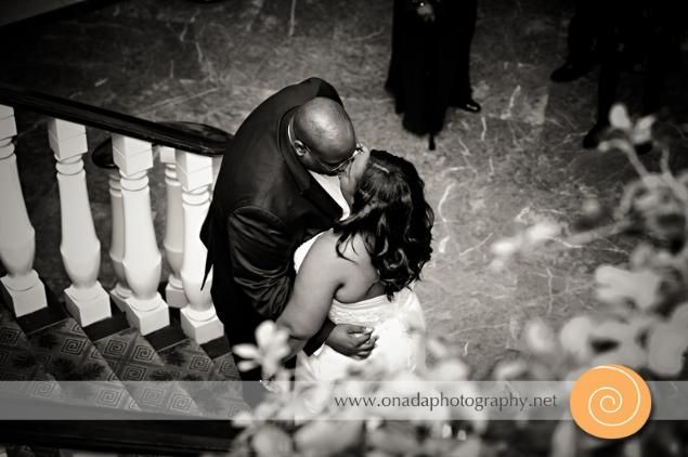 Bride and groom share a private moment