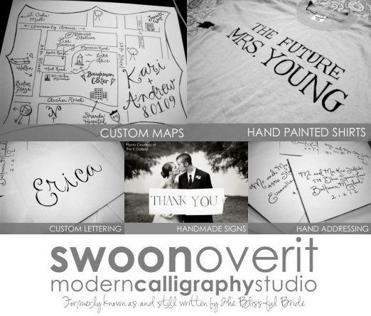 Swoon Over It Modern Calligraphy Studio custom services for your wedding