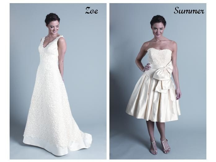 White lace wedding dress with a-line skirt; short off-white wedding dress with lace corset, large bo