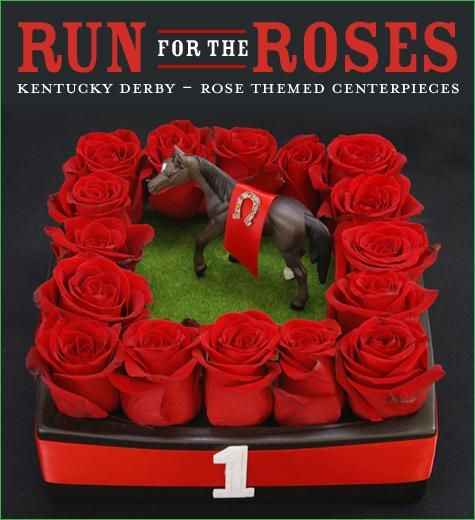 red rose centerpiece inspired by the Kentucky Derby Winner's Circle