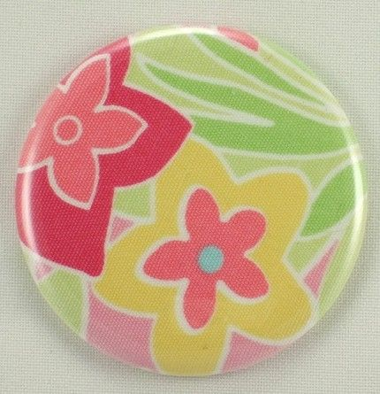 floral bridesmaid pocket mirror yellow pink green