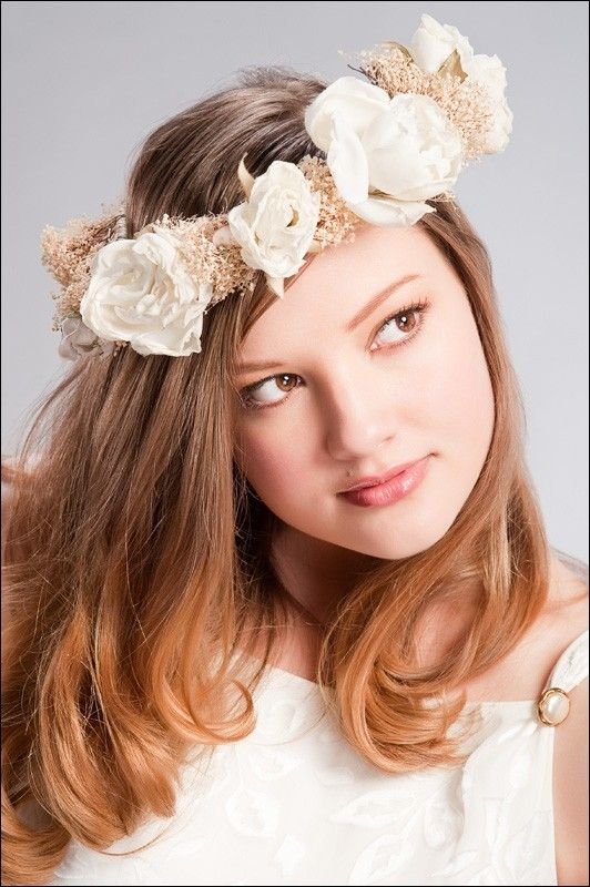 Amy-Jo Tatum bridal headpice- boho style floral crown, white flowers, cream band