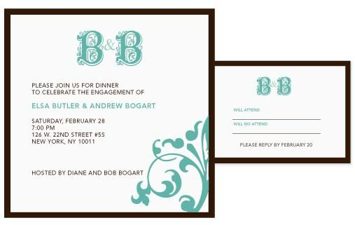 White wedding invitation, chocolate brown border, aqua and teal monogram