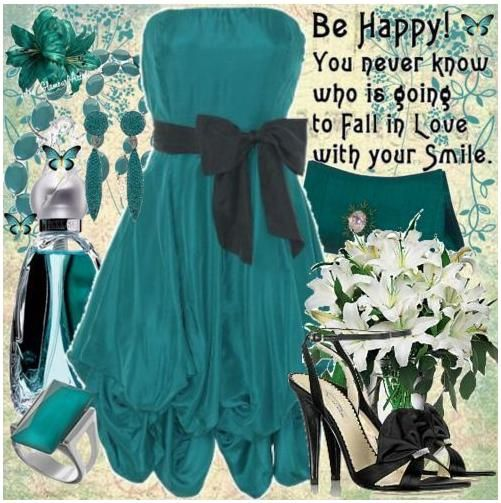 Teal and black, a sophisticated combination. Teal strapless dress with black bow