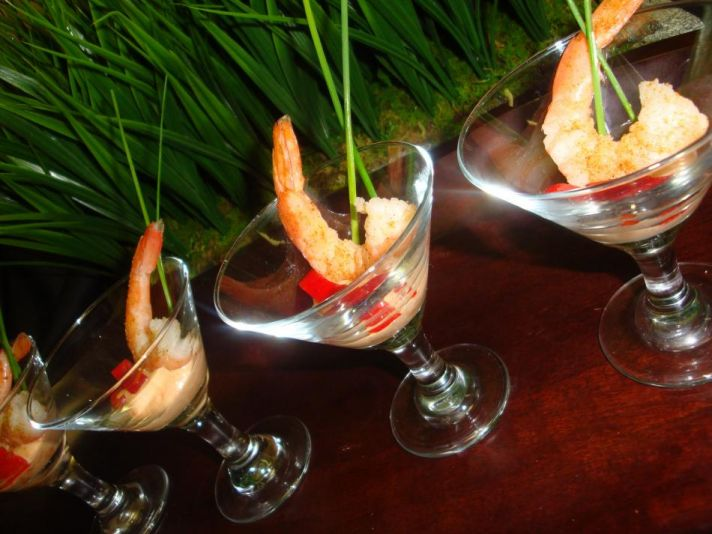 Southwestern grilled shimp-tinis- shrimp cocktail served in martini glass