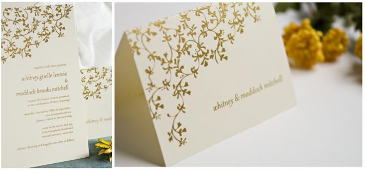 Gorgeous Thermography wedding invitations- vibrant gold on white luxurious background