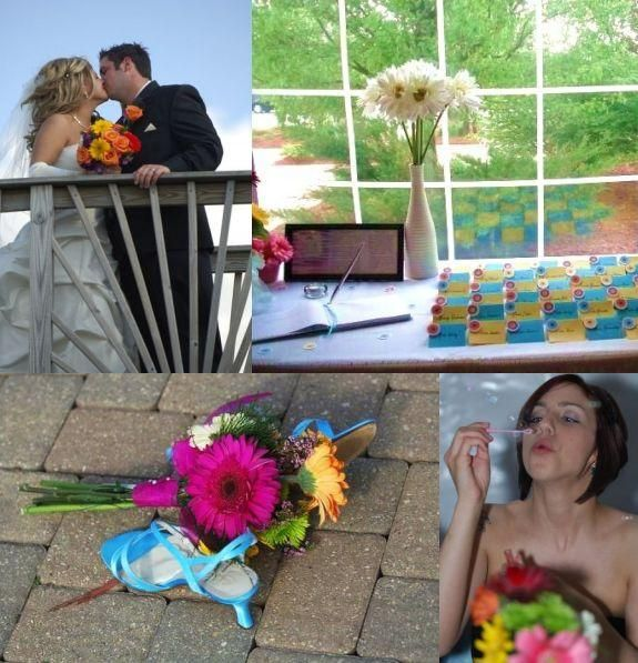 Colorful, vibrant and stylish gerbera daisy-theme wedding