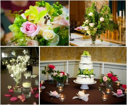 Beautiful floral arrangements in pink, green, fuchsia, ivory