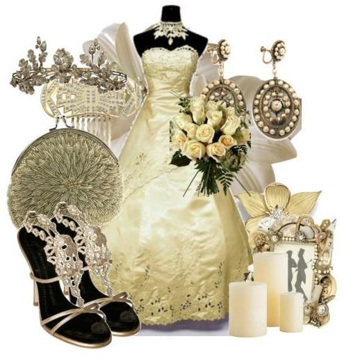 For a regal look, pair gold accessories with your wedding dress