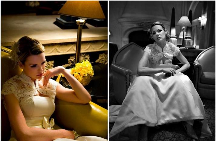 antique-ivory-wedding-dress-lace-bolero-yellow-black-color-and-black-white