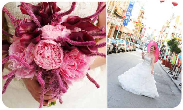 Bride holds gorgeous pink, purple, maroon, violet bouquet; holds pink parasol