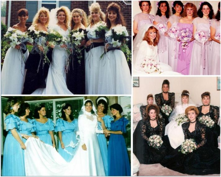 Ugly bridesmaid dresses in the '80's- big hair, black and white, bright colors