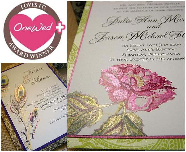 Beautiful pink, fuchsia, green, gold hand painted wedding invitations