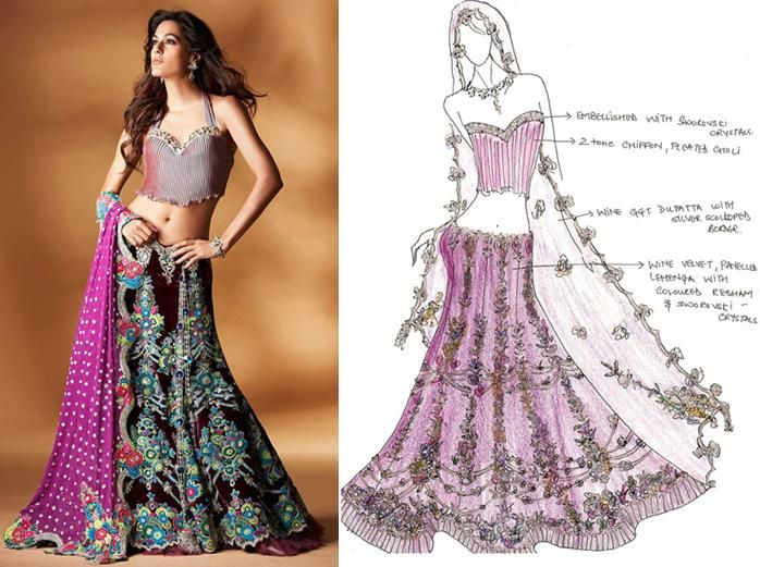 Magenta lengha, white velvet, champagne-gold with Swarovski; dupatta sprinkled with sequins
