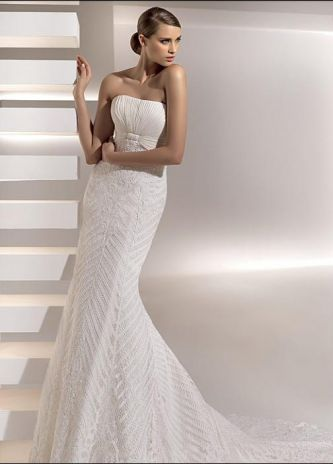 strapless silver wedding gown