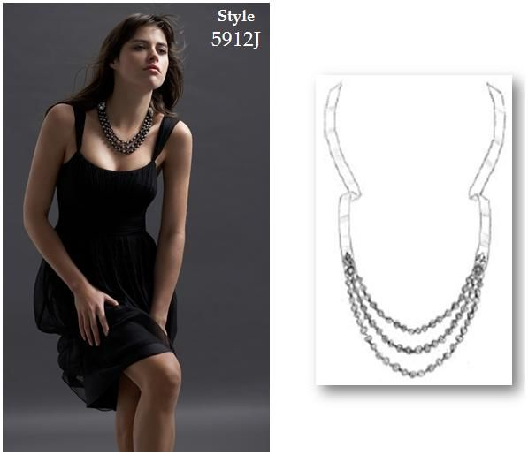 Gorgeous three strand black pearl necklace; available in ivory, too!