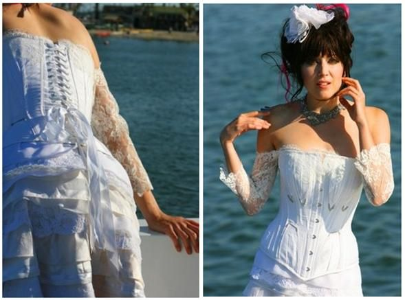 White wedding dress with corset top, with an edgy, punk feel