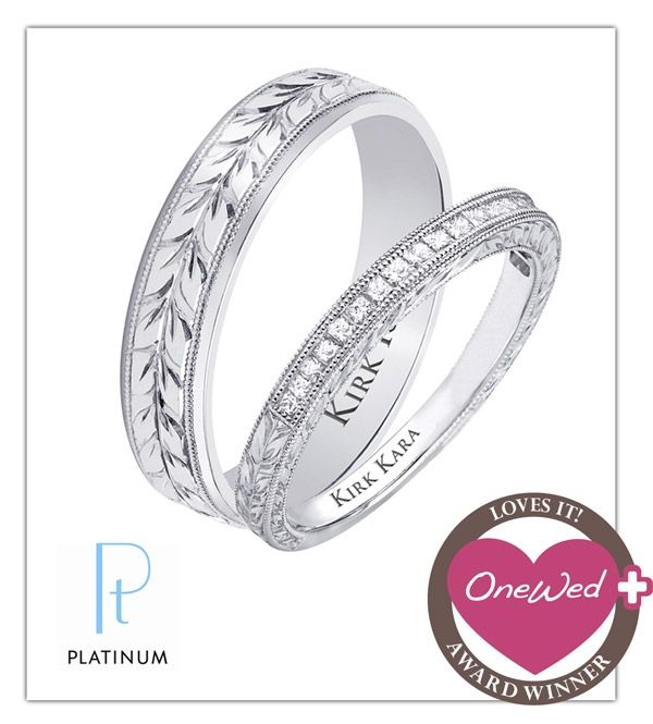Don't miss your chance to win these platinum and diamond wedding bands from Kirk Kara