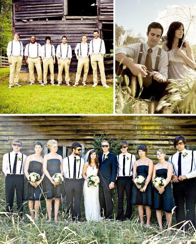 Beautiful outdoor wedding party photos; groomsmen casual in suspenders, white shirt, and khakis