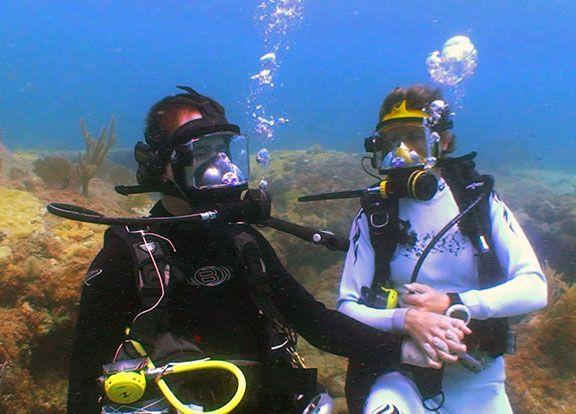 An underwater wedding