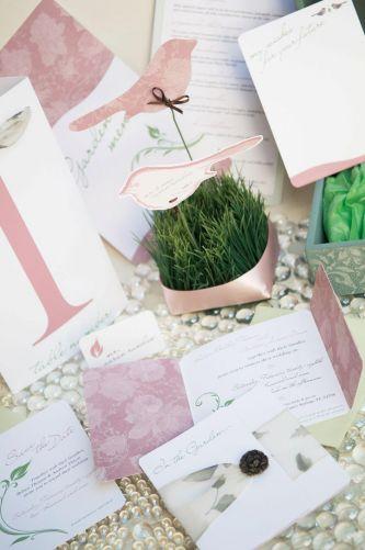 Dusty rose white and sage garden theme wedding stationery