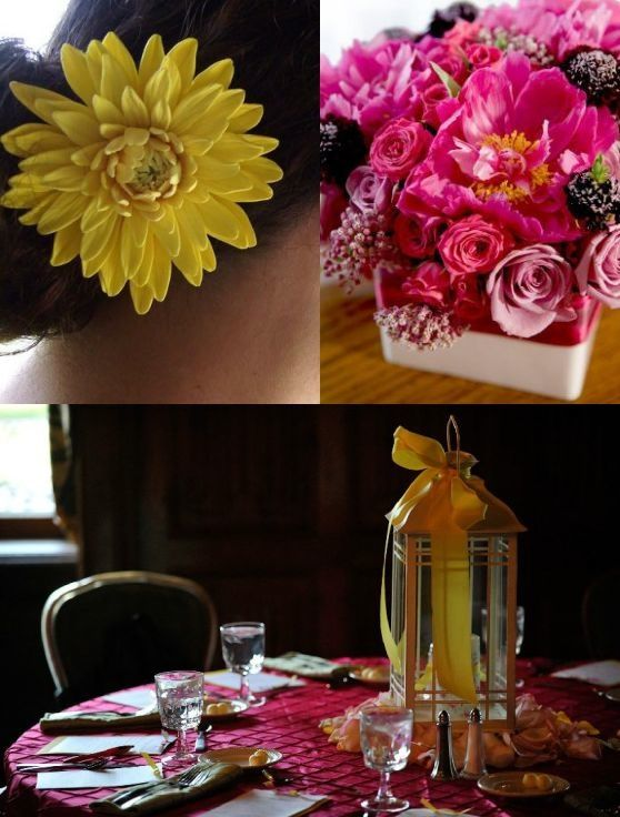 A yellow flower in the hair, pink flowers on the table, and yellow table decorations all brighten up
