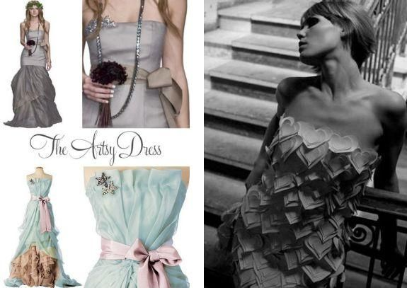 For the artsy bride, don't limit yourself to a classic white wedding dress. Think colors, sashes, a