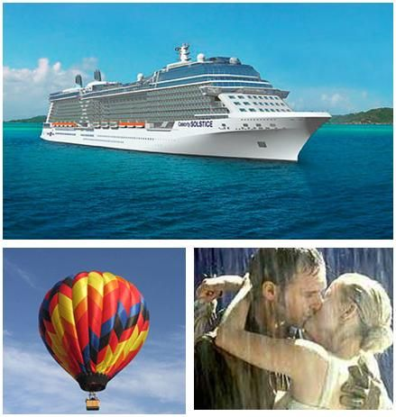 A couples cruise, anywhere in the rain, or while on a hot air balloon ride- romantic places to pop t