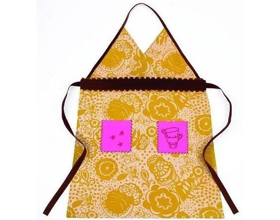 Cute gold, chocolate brown, dusty rose and hot pink patterned apron with a brady bunch vibe- Sky blu