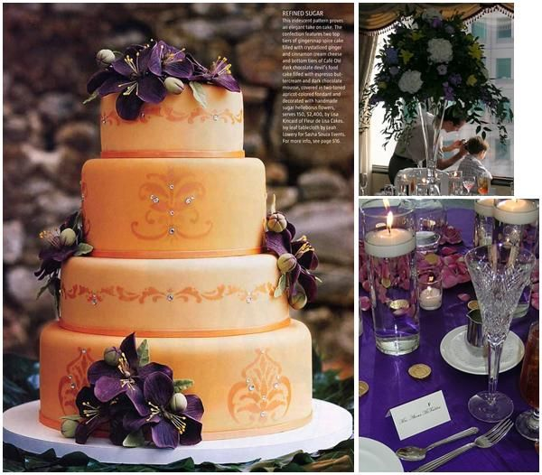 Peachy orange wedding cake with purple and plum flowers, perfect for an autumn wedding