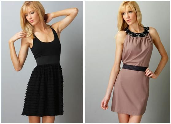 Adorable black scoop neck bridesmaid dress (add color with vibrant accesssories); dusty rose and bla