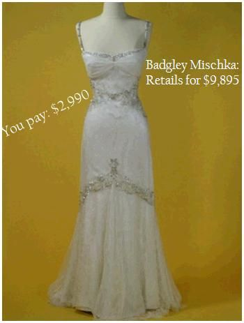 Badgley Mischka sheath wedding dress with lace, platinum, and to-die-for details