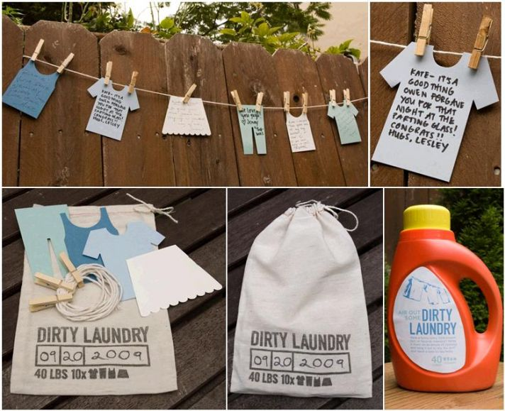 Fun game for casual outdoor wedding, bridal shower, bachelorette party- the Dirty Laundry guest book