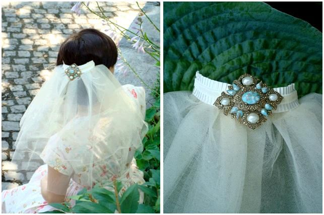 Gorgeous ivory short bridal veil with your something blue in back- a beautiful jade, pearl and gold