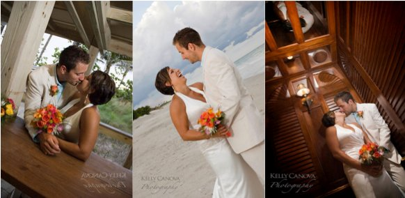 The beach and the hotel were the perfect backdrops for this short haired bride and her groom.