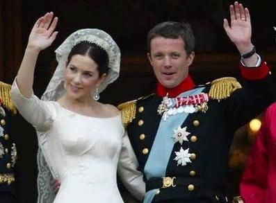 Princess Mary wearing mantilla veil at wedding to Frederik of Denmark
