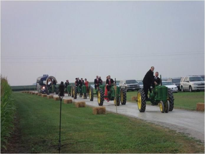 Wedding party makes grand entrance on John Deere tractors