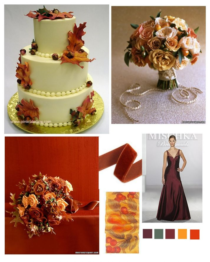 Rich colors like gold, burnt orange, and burgundy are perfect for a fall wedding
