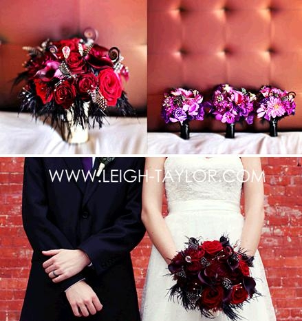 leigh-taylor-rock-n-roll-wedding-dark-red-roses-black-feathers-bright-prurple-bridesmaid-bouquets