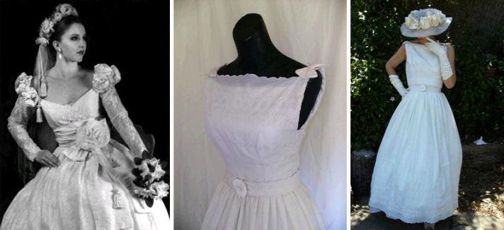 Beautiful lace and eyelit boat neck wedding dresses by Amy-Jo Tatum