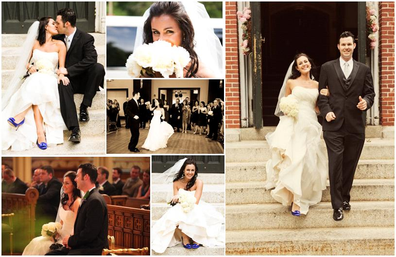 Beautiful bride in white strapless wedding dress blue heels white flowers