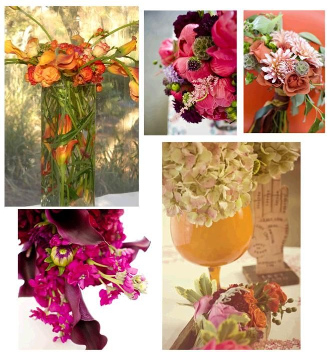 Vibrant floral arrangements in bright pink, orange, coral, plum and fuchsia