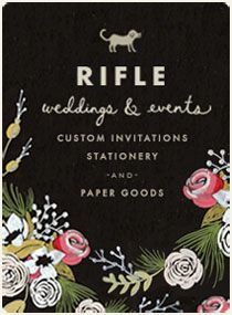 This hand illustrated invitation is typical of Rifle's wedding stationary.