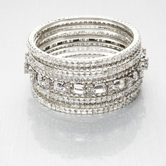 Stunning silver and diamond bridal bangles, glamourous for your wedding day